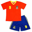Boys Football Sports SPAIN No9 Espagne V Neck Top & Shorts Set 2 to 14 Years