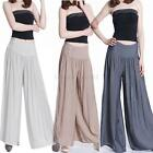 Womens Lady Long GAUCHO Wide Leg Trousers Loose Chiffon Gauze Pants Culottes