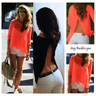 Sexy Fashion Women Summer Tops JAG Long Sleeve Shirt Casual Blouse Loose T-shirt
