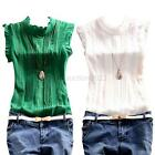 Women's Summer Ruffle Sleeve Tops Blouse Shirt Vintage Chiffon Shirt Tee S-XL