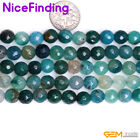 Hot Round Green Agate Faceted Stone Beads For Jewelry Making Gemstone 8mm 10mm