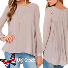 New Lady Crew Neck Chiffon Loose Tops Long Sleeve Shirt Casual Blouse Size 8-14