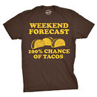 Mens Weekend Forecast 100% Chance of Tacos Tshirt Funny Mexican Tee