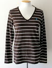 NEW RALPH LAUREN Women's Long Sleeve V-Neck Top Brown/White Striped Pima Cotton