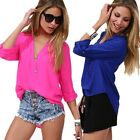 Fashion women's clothing Big size loose Tops Long-sleeved v-neck chiffon Blouses