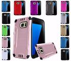 For Samsung Galaxy S7 G930 Combat Metal Brushed Design Hybrid Cover Case
