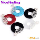 40mm Donut Ring Necklace Pendant Silver Jewelry For Women Present Color Assorted