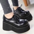 Vintage Women's Wedge High Heel Creeper Lace Up Gothic Round Toe Casual Shoes