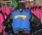 Superman Kids Reversible Wool Pleather Hoodie Jacket - Free Shipping - New