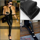 Black Women's Faux Leather Lined Pants Sexy Leggings Stretch Trousers Warm NEW