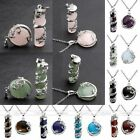 Fashion Natural Gem Stone Pendant Stainless Steel Chain Necklace Jewelry Set