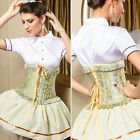 Floral Embroidery Ruffled Trim Women's Bustier Corset Top Basque Underbust Boned