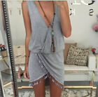 UK Women Casual Summer Dress Fringe Tassel Dresses Sexy V-Neck Mini Beach Dress