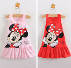 Lovely Bambini Minnie Mouse Vestito Festa Canottiera Gonna Bimbo 1-6Y