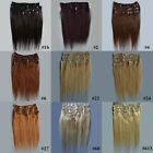 "Womens medium 12"" 30cm Clip In Remy Real Human Hair Extensions Straight 70g/set"