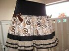 NEW UNIQUE Black Brown Cogs Gears Skirt SteamPunk Goth Rock Gift Biker Party