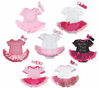 Rhinestone My Little Pink Dress Cotton Bodysuit Girls Baby Dress Outfit NB-18M