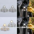 Fashion Gold Silver Star Front Back Cuff Ear Jacket Stud Earrings Women Jewelry