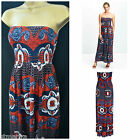 NEW NEXT MAXI MIDI DRESS NAVY BLUE RED ABSTRACT FLORAL BANDEAU SUMMER SZ 8 - 18