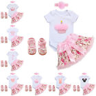 4pcs Baby Girl Headband Princess Romper Tutu Skirt Outfit Shoes Birthday Clothes