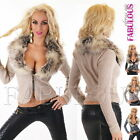 New Sexy Women's Faux Fur Jacket Jumper Sweater Short Cardigan Size 10-12 M L