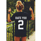 Women's hate you 2 Slogan Printed T Shirt Short Sleeve Tops Blouse Couple Shirt