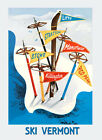 Ski Vermont Lifts Stratton Stowe Mansfield Pico Peak Vint Poster Repro FREE S/H