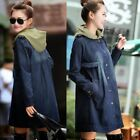 Removable Hood Press Stud Women's Jean Jacket Denim Trench Coat Outwear Buttons