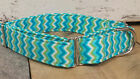 Blue Chevron designer dog collar martingale with leash set option