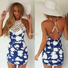 Boho Women Summer Casual Sleeveless Backless Cocktail Party Lace Mini Dress New
