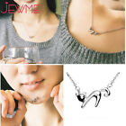 925 Sterling Silver Lazy Cat Turn-up Tail Pendant Chain Necklace Jewelry Present