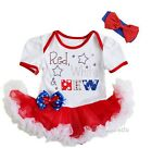 4th of July Baby Red White & New White Red Bodysuit Tutu and Headband