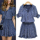 Womens Fashion Cute Summer Short Sleeve Print Casual Dress Sundress AU