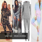 NEW LADIES WOMEN ARMY CAMOUFLAGE TOP AND BOTTOM SET TRACKSUIT LOUNGE WEAR