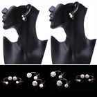 Korean Full Rhinestone Stud Double Side Ball Earrings Double Pearl Earrings