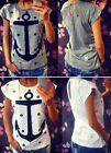 Navy Sailor T-Shirt grau weiß ancle print Anker  S 36 Shirt Top Oberteil Marine
