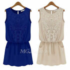 Sexy Women Lace Crochet Sleeveless Summer Beach Chiffon Party Evening Mini Dress