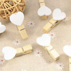 Lot 10/20Pcs Wooden White Love Heart Pegs Photo Paper Clips Wedding Decor Craft