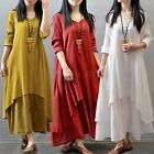 UK 8-26 ZANZEA Women Cotton Linen Long Sleeve Maxi Shirt Dress Kaftan Plus Size