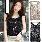 Women Spangle Sequin sparkle glitter Sleeveless T-Shirt Camisole Tank Top Vest