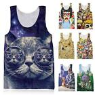 Women 3D Print Punk Bodycon Stretch Tank Top Vest Blouse Sleeveless T-Shirt Tee