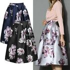 Women Swing Hepburn A Line Midi Ball Gown Club Floral High Waist Skirt Dress