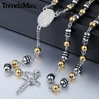 Gold Black Unisex Chain Bead Rosary Jesus Stainless Steel Cross Pendant Necklace