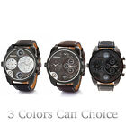 Men Oulm Wristwatches Date Leather Stainless Steel Analog Quartz Movement Watch