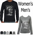 Skeleton tree Hand printed design long sleeve top women's size Funny T-Shirts