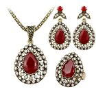 Vintage Style Beautiful Women Red Crystal Necklace Earrings Jewelry Gold Set