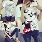 Cute cartoon kids Cotton Mouse loose short sleeve white T-shirt Tops Blouse CA