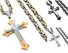 Men's Silver Gold Black 2 Layer Cz Cross Pendant Stainless Steel Chain Necklace