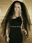 Wedding Veil Gothic Fingertip Black Red Purple 3 Tiers Gold Silver Pencil Edge
