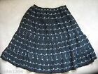 Black with White embroidery Flared Summer Skirt (NEW) sizes 10 or Medium